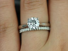 Rosados Box Flora 7mm & Kierra 14kt White Gold F1- Moissanite and Diamond Cathedral Solitaire Wedding Set