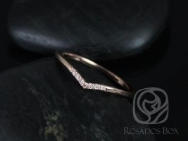 Rosados Box Momo 14kt Rose Gold Chevron Diamond V Ring (S.L.A.Y. Collection)