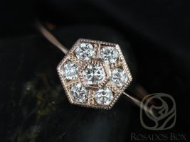 Rosados Box Mosaic 14kt Rose Gold WITH Milgrain Diamonds Cluster Ring