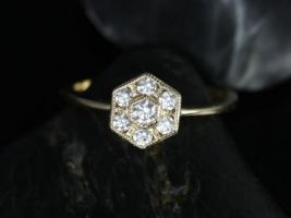 Rosados Box Mosaic 14kt Yellow Gold Milgrained Diamond Cluster Engagement Ring