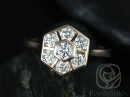 Rosados Box Mosaic Grande 14kt Rose Gold WITHOUT Milgrain Diamond Cluster Engagement Ring