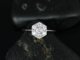 Rosados Box Mosaic 14kt White Gold WITH Milgrain Diamonds Cluster Ring