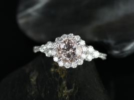 Rosados Box Amora 7mm 14kt Round Morganite Diamonds Cluster  Halo 3 Stone Engagement Ring