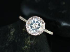 Rosados Box Kubian 8mm 14kt Rose Gold Round White Topaz Halo Engagement Ring