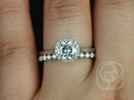 Rosados Box Amerie 6.50mm & Petite Naomi 14kt White Gold Round F1- Moissanite and Diamonds Halo Wedding Set