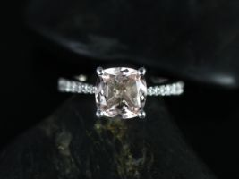 Rosados Box Taylor 8mm 14kt White Gold Cushion Morganite and Diamond Cathedral Engagement Ring