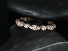 Rosados Box Original Bead & Eye14kt Rose Gold Vintage Style Diamond Halfway Eternity Band