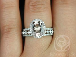 Rosados Box Jessica 10x8mm & Petite Naomi 14kt White Gold Oval Morganite and Diamonds Halo TRIO Wedding Set