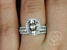 Rosados Box Original Jessica 10x8mm & Petite Bubbles 14kt Gold Oval Morganite and Diamonds Halo TRIO Wedding Set