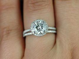 Rosados Box Kubian 7mm 14kt White Gold Round F1- Moissanite and Diamonds Halo Wedding Set