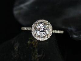 Rosados Box Kubian 7mm 14kt Yellow Gold Round White Topaz Halo Engagement Ring
