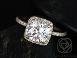Rosados Box Pernella 7mm 14kt Yellow Gold Cushion F1- Moissanite and Diamonds Halo Engagement Ring