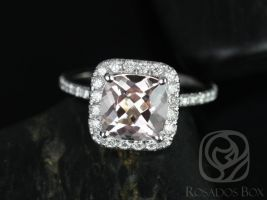 Rosados Box Pernella 8mm 14kt White Gold Cushion Morganite and Diamonds Halo Engagement Ring