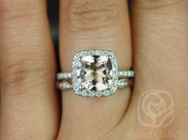 Rosados Box Pernella 8mm & Ember 14kt White Gold Cushion Morganite and Diamonds Halo Wedding Set