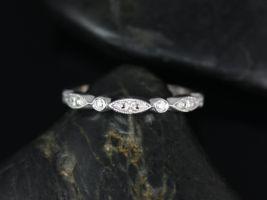 Rosados Box 14kt White Gold Petite Bead & Eye Diamond Vintage Style Half Eternity Band