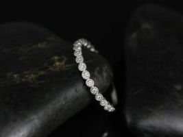 Rosados Box Petite Bubbles 14kt White Gold Diamonds WITH Hand Milgrain Beading ALMOST Eternity Band