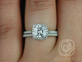 Rosadsos Box Catalina 6.5mm 14kt White Gold Cushion F1- Moissanite and Diamond Halo Wedding Set