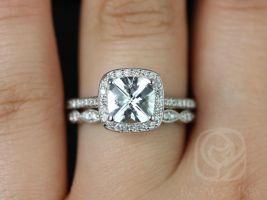 Rosados Box Hollie 7mm & Christie 14kt White Gold Cushion White Topaz and Diamonds Halo Wedding Set