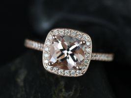 Rosados Box Hollie 7mm 14kt Rose Gold Cushion Morganite and Diamond Halo Engagement Ring