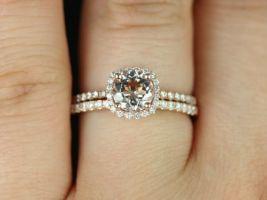 Rosados Box Barra 6mm 14kt Rose Gold Round Morganite and Diamonds Cushion Halo Wedding Set