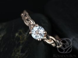 Rosados Box Prudence 5mm Rose Gold Round White Topaz Braided Engagement Ring