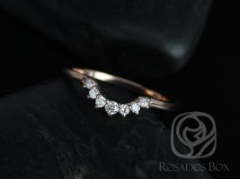 Rosados Box Rayna 1.0 14kt Rose Gold Matching Band to Gloria 9x7mm Diamonds Wedding Band