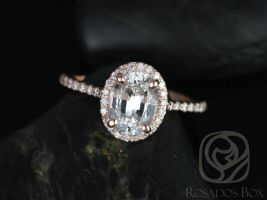 Rosados Box Rebecca 8x6mm 14kt Rose Gold Oval White Sapphire and Diamonds Halo Engagement Ring