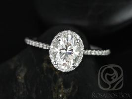 Rosados Box Rebecca 8x6mm 14kt White Gold Oval F1- Moissanite and Diamond Halo Engagement Ring