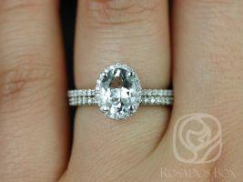 Rosados Box Rebecca 8x6mm 14kt White Gold Oval White Sapphire and Diamonds Halo Classic Wedding Set