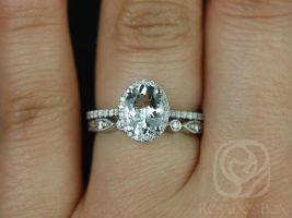 Rosados Box Rebecca 8x6mm & Bead Eye 14kt White Gold Oval White Sapphire and Diamonds Halo Wedding Set