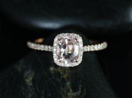 Rosados Box Romani 7x5mm 14kt Rose Gold Morganite and Diamonds Cushion Halo Engagement Ring