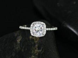 Rosados Box Barra 6mm 14kt White Gold Round White Topaz and Diamonds Cushion Halo Engagement Ring