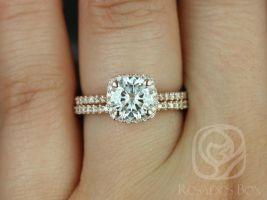Rosados Box Samina 7mm & Kubian 14kt Rose Gold F1- Moissanite and Diamond Cushion Halo Classic Wedding Set