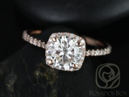 Rosados Box Samina 6.5mm 14kt Rose Gold Round F1- Moissanite and Diamonds Cushion Halo Engagement Ring