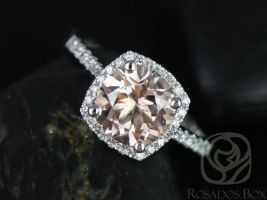Rosados Box Samina 8mm 14kt White Gold Morganite and Diamonds Cushion Halo Engagement Ring Only
