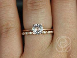 Rosados Box Skinny Alberta 6mm & Gwen 14kt Rose Gold Round Morganite and Diamond Wedding Set