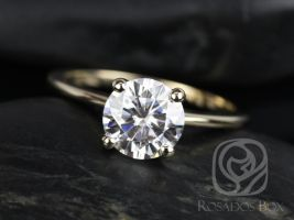 Rosados Box Skinny Alberta 7.5mm 14kt Yellow Gold Round Forever One Moissanite Tulip Solitaire Engagement Ring