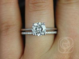 Rosados Box Skinny Alberta 7.5mm & Dia Barra 14kt White Gold Round Forever One Moissanite Solitaire Wedding Set