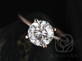 Rosados Box Skinny Alberta 8mm 14kt Rose Gold Round Forever One Moissanite Tulip Solitaire Engagement Ring