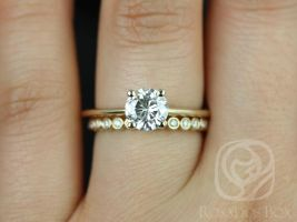 Rosados Box Skinny Alberta 6.5mm & Petite Bubbles 14kt Yellow Gold Round Forever One Moissanite and Diamonds Wedding Set