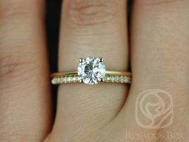 Rosados Box Skinny Alberta 6.5mm & Romani 14kt Yellow Gold Round Forever One Moissanite and Diamonds Wedding Set
