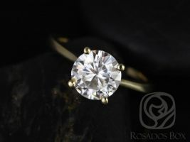 Rosados Box Skinny Flora 8mm 14kt Yellow Gold Round F1- Moissanite Tulip Cathedral Solitaire Engagement Ring