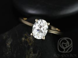 Rosados Box Skinny Lois 8x6mm 14kt Yellow Gold Oval F1- Moissanite Tulip Cathedral Solitaire Engagement Ring