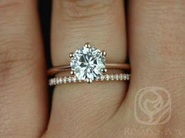 Rosados Box Skinny Webster 7.5mm & Kimberly 14kt Rose Gold Round F1- Moissanite Six-Prong Webbed Wedding Set