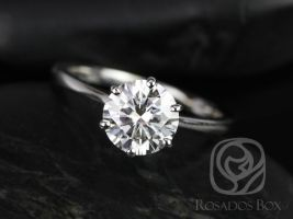 Rosados Box Skinny Wendy 7.5mm 14kt White Gold F1- Moissanite Six-Prong Tapered Engagement Ring