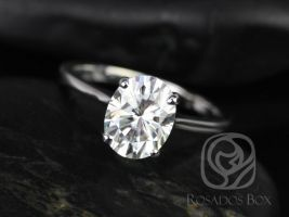 Rosados Box Skinny Lois 9x7mm 14kt White Gold Oval F1- Moissanite Tulip Cathedral Solitaire Engagement Ring