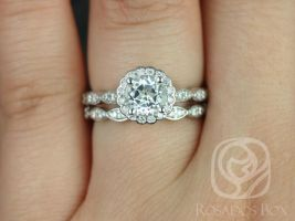 Rosados Box Sunny 6mm 14kt White Gold Round White Topaz and Diamonds Halo WITHOUT Milgrain Wedding Set