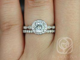 Rosados Box Sunny 6mm & Callie 14kt White Gold Round White Topaz and Diamond Halo WITHOUT Milgrain Wedding Set