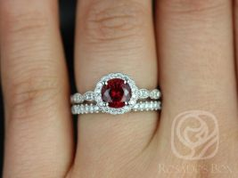 Rosados Box Sunny 6mm & Callie 14kt White Gold Round Crimson Ruby and Diamond Flower Halo WITH Milgrain Wedding Set