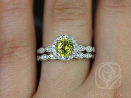 Rosados Box Sunny 6mm 14kt White Gold Yellow Sapphire & Diamond Flower Halo WITH Milgrain Wedding Set